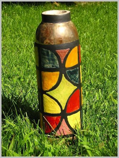 Vase Raku multicolore