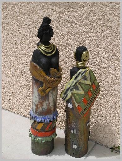 sculpture Raku personnage afrique