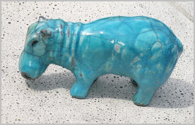 Hypopotame Raku Turquoise Sandrine