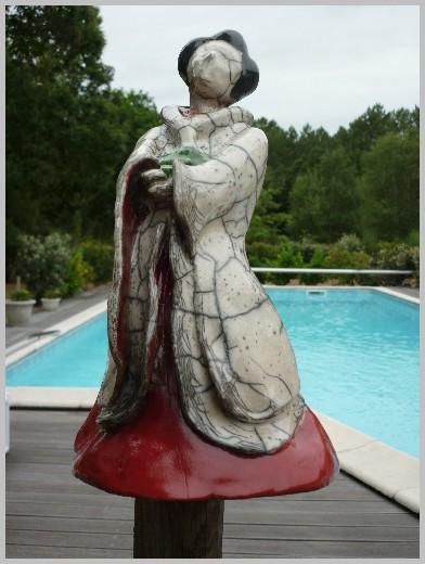 Sculptures raku  nature et rouge